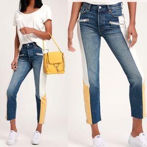 Levi's 501 Original Color Block Cropped Jeans